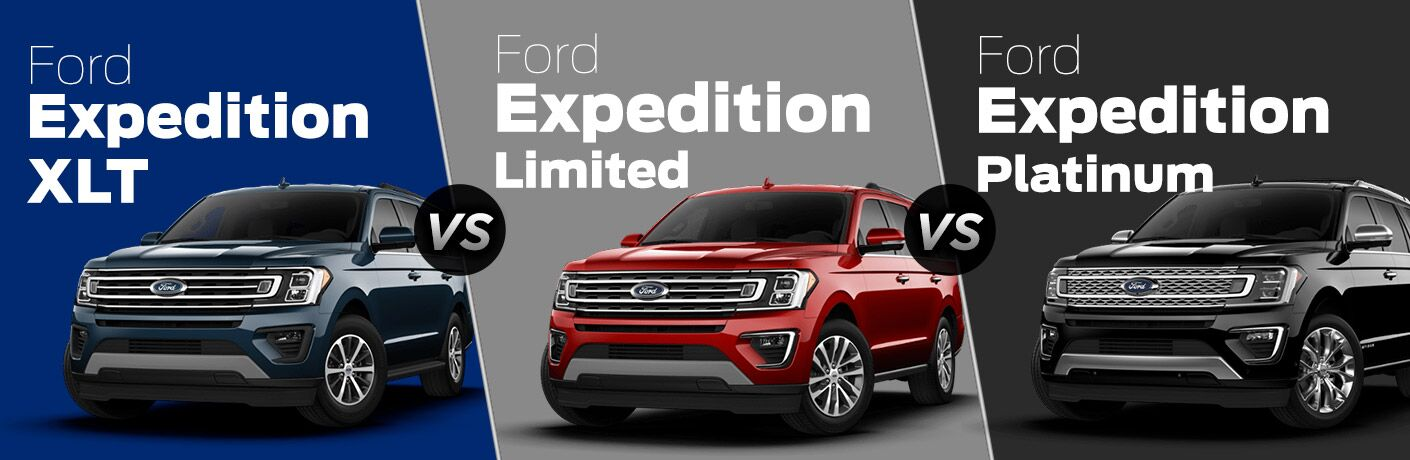 Blue 2018 Ford Expedition XLT on a Blue Background vs a Red 2018 Ford Expedition Limited on a Gray Background vs a Black 2018 Ford Expedition Platinum on a Black Background with White Text on Each