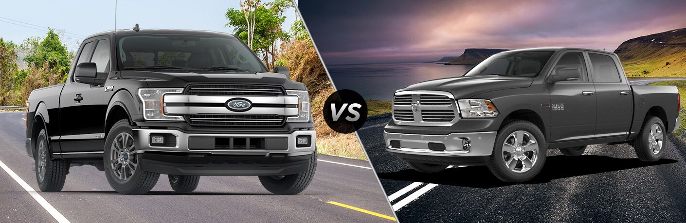 Black 2018 Ford F-150 Power Stroke Diesel on a Country Road vs Black 2018 Ram 1500 EcoDiesel on a Highway