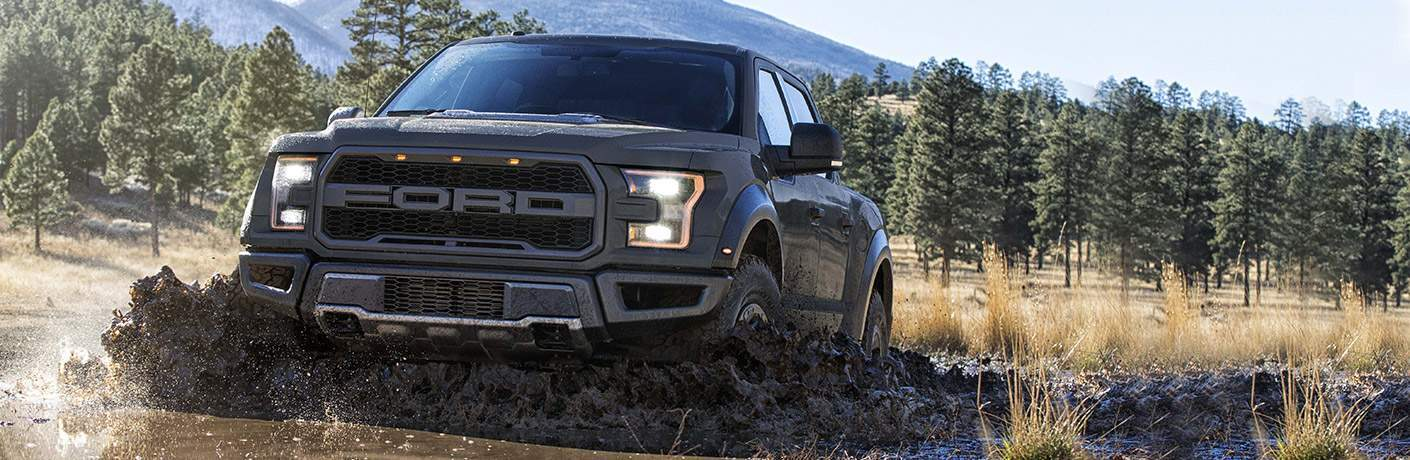 Black 2018 Ford F-150 Raptor Splashing Through Mud with Pine Forest in the Background