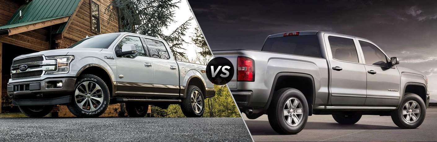 White 2018 Ford F-150 in Front of Cabin vs Gray 2018 GMC Sierra 1500 on Gray Background