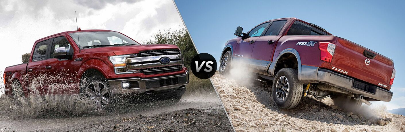Red 2018 Ford F-150 in Mud vs Red 2018 Nissan Titan Climbing a Hill