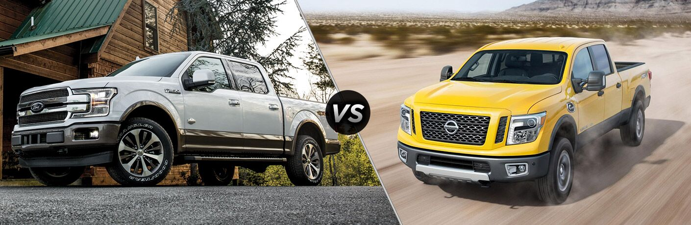 Silver 2018 Ford F-150 Parked in Front of a Cabin vs Yellow 2018 Nissan Titan XD on a Dirt Trail