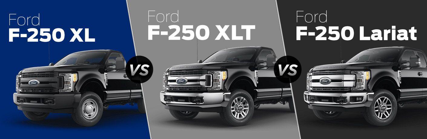 Black 2018 Ford F-250 XL on a Blue Background vs Black 2018 Ford F-250 XLT on a Gray Background vs a Black 2018 Ford F-250 Lariat on a Black Background with White Name Text on Each