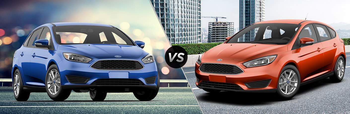 Blue 2018 Ford Focus SE Sedan in City vs Orange 2018 Ford Focus SE Hatchback on City Street