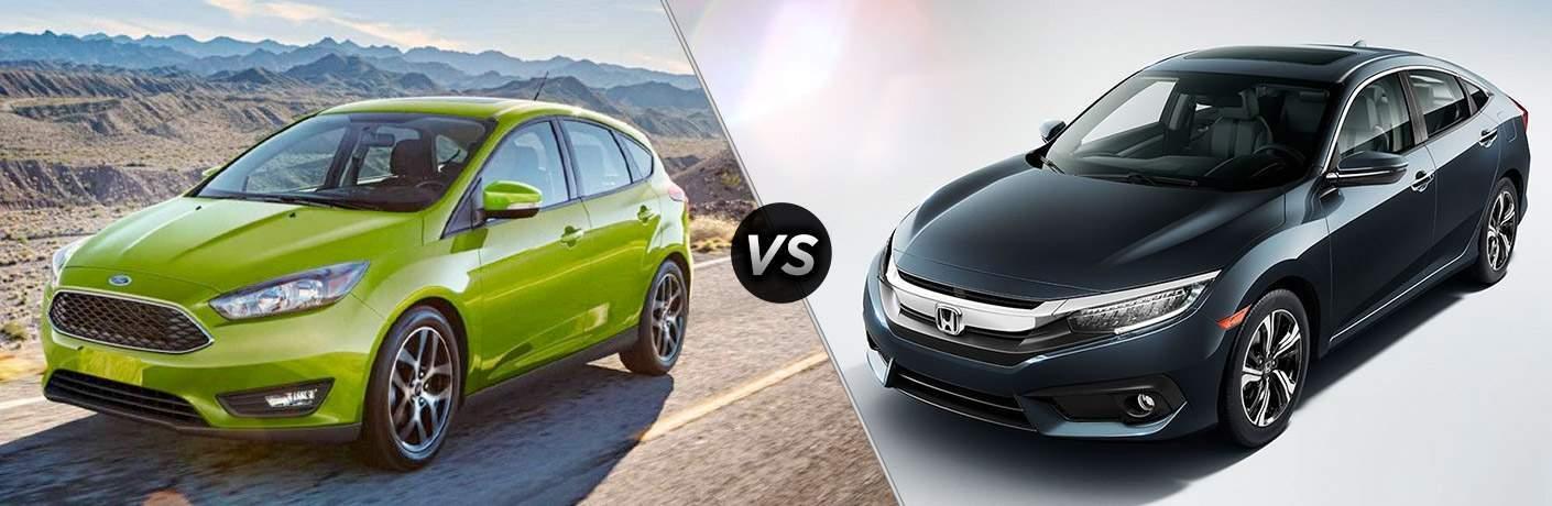 Green 2018 Ford Focus on Desert Highway vs Black 2018 Honda Civic on White Background