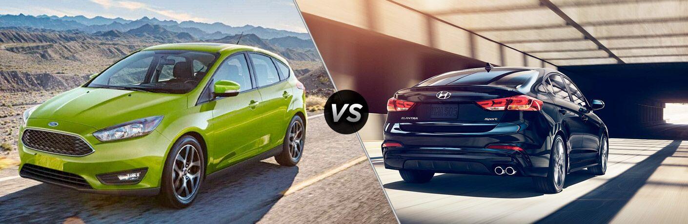 Green 2018 Ford Focus Hatchback on a Desert Road vs Black 2018 Hyundai Elantra in a Tunnel