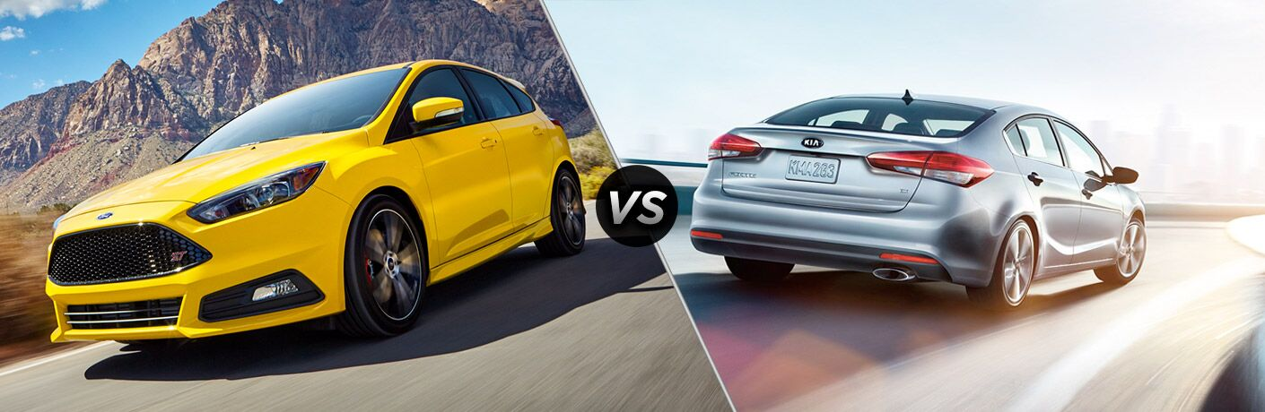 Yellow 2018 Ford Focus ST on a Desert Highway vs Silver 2018 Kia Forte Rear Exterior on a Highway