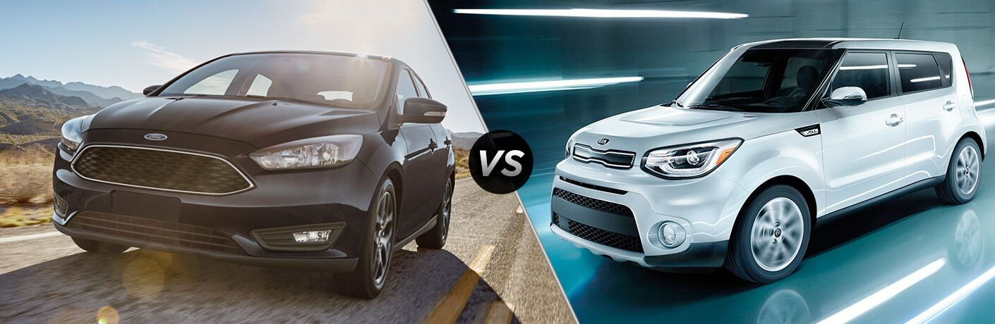 Black 2018 Ford Focus on Desert Road vs White 2018 Kia Soul in a Tunnel at Night