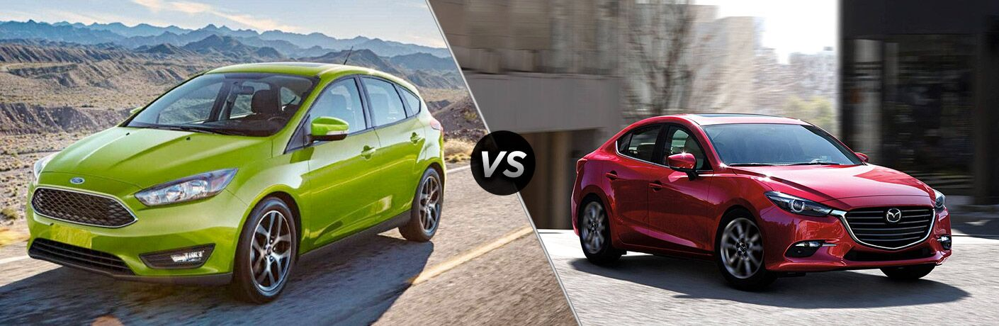 Green 2018 Ford Focus on Desert Highway vs Red 2018 Mazda3 on a City Street