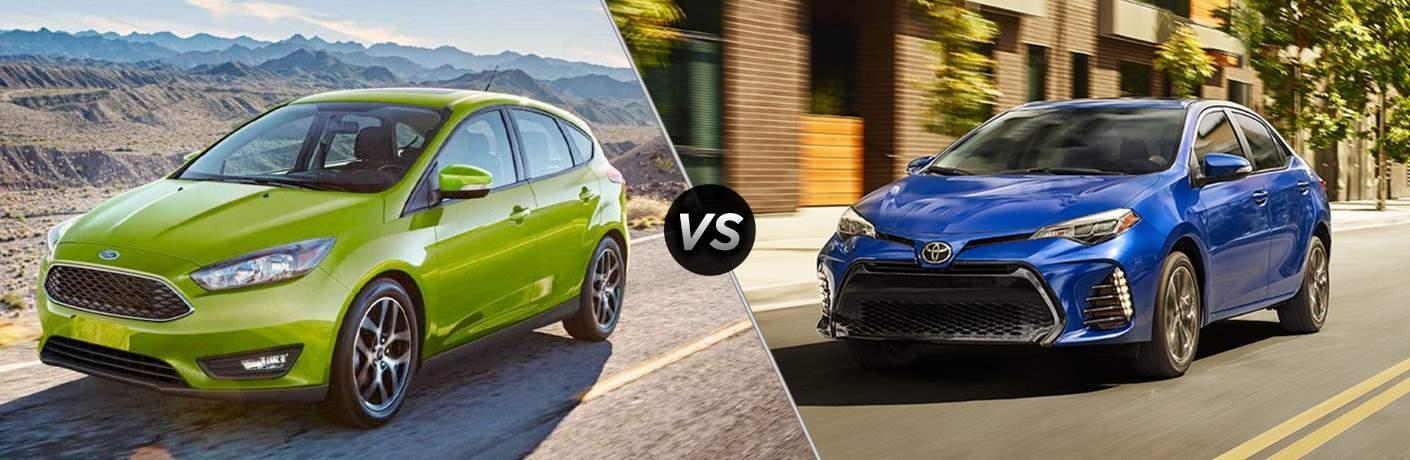Green 2018 Ford Focus on Desert Highway vs Blue 2018 Toyota Corolla on City Street