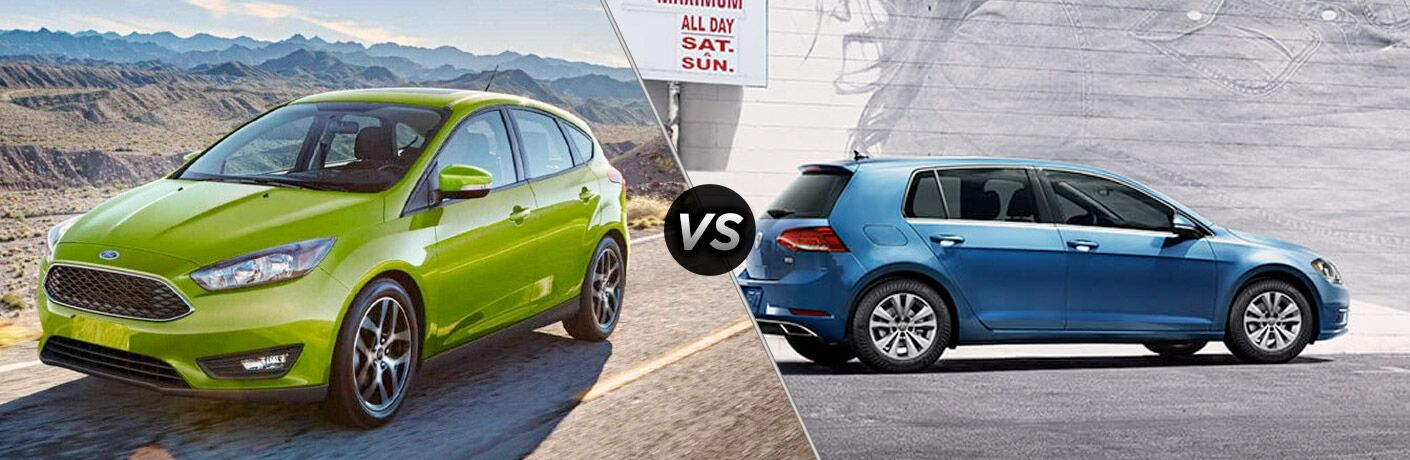 Green 2018 Ford Focus on Desert Highway vs Blue 2018 VW Golf in an Alley