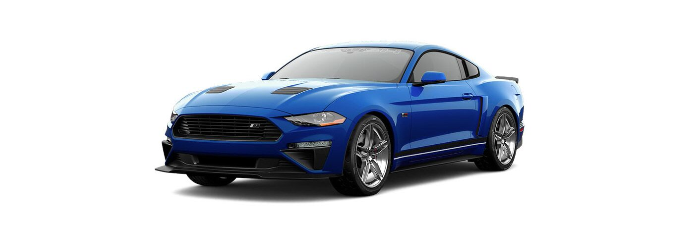 Blue 2018 Ford Mustang ROUSH Stage 1 on White Background