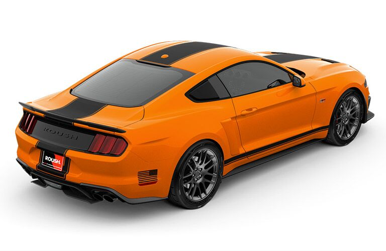 Overhead View of Orange 2018 Ford Mustang ROUSH Stage 2 on a White Background