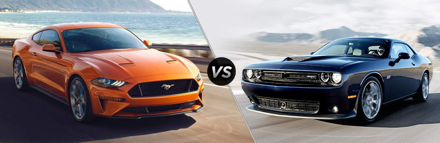 Orange 2018 Ford Mustang on Coast Road vs Black 2018 Dodge Challenger on Highway