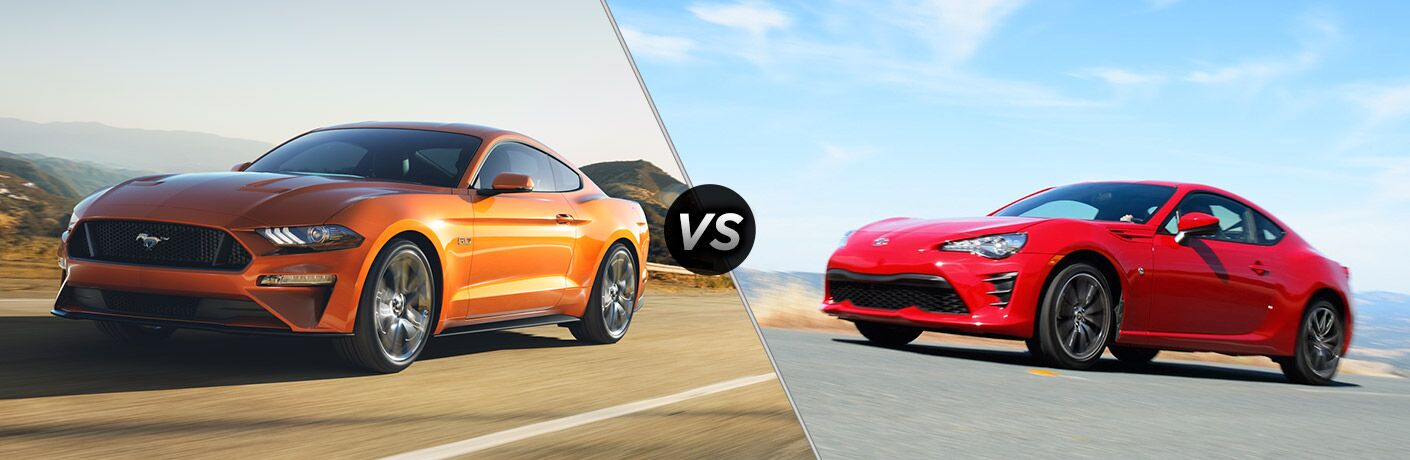 Orange 2018 Ford Mustang on Country Road vs Red 2018 Toyota 86 on Highway