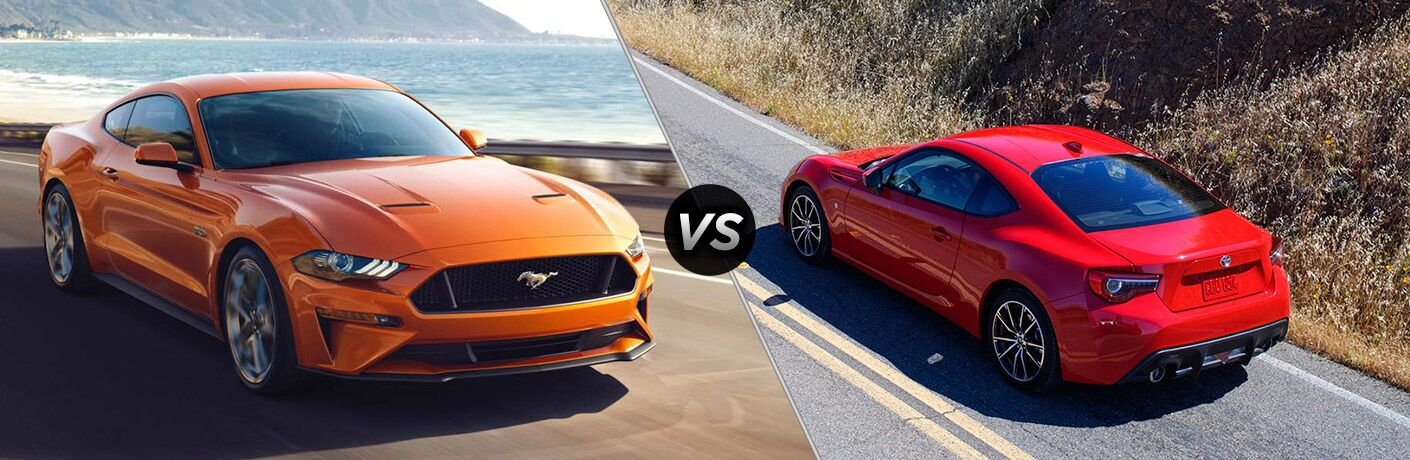 2018 Ford Mustang on Coast Road vs Red 2018 Subaru BRZ on a Country Highway