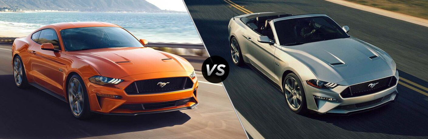 Orange 2018 Ford Mustang Coupe on a Coast Road vs Silver 2018 Ford Mustang Convertible on a Highway
