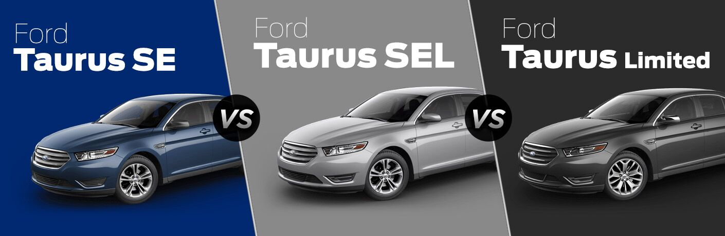 Blue 2018 Ford Taurus SE on Blue Background vs Silver 2018 Ford Taurus SEL on Gray Background vs Black 2018 Ford Taurus Limited on a Black Background with White Trim Level Text on Each
