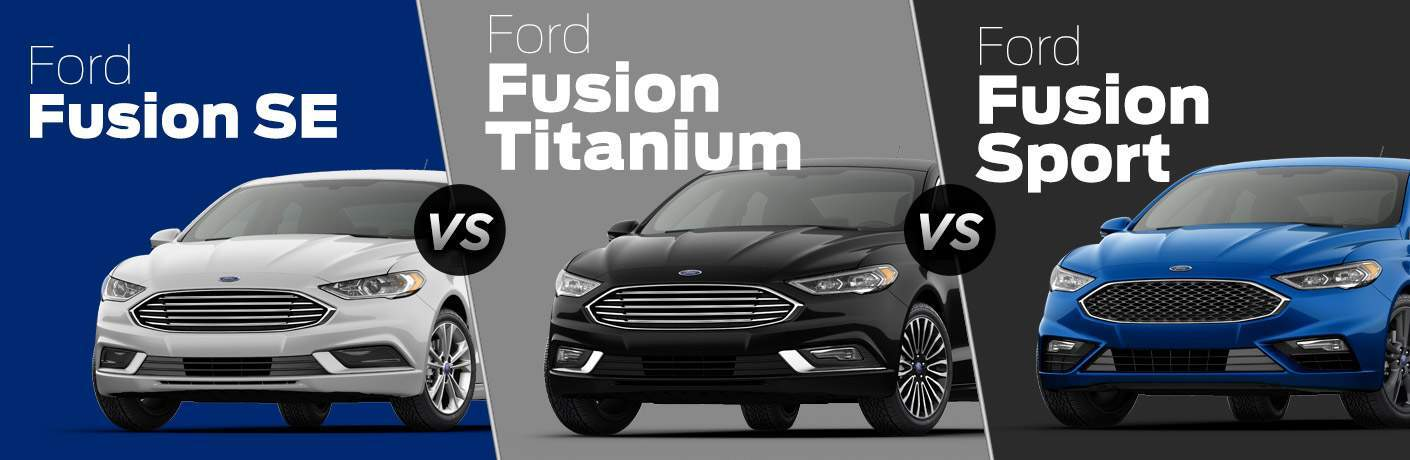 White  Ford Fusion Se On Blue Background Vs Black  Ford Fusion Titanium On Gray