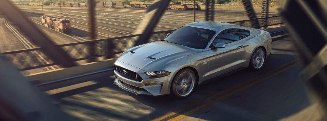 Silver 2018 Ford Mustang GT on Bridge