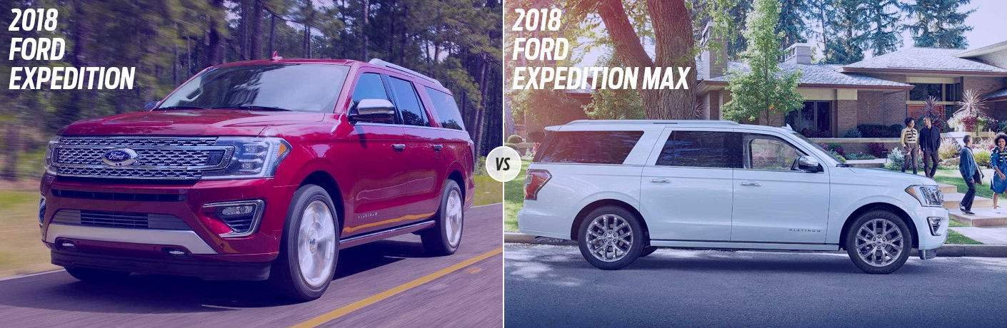 Red  Ford Expedition On Country Road Vs White  Ford Expedition Max Parked In Front