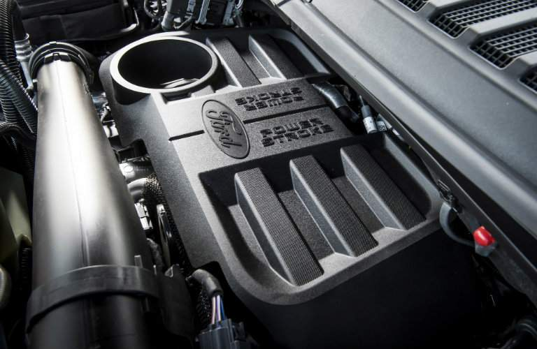Close Up of 2018 Ford F-150 Power Stroke Diesel Engine