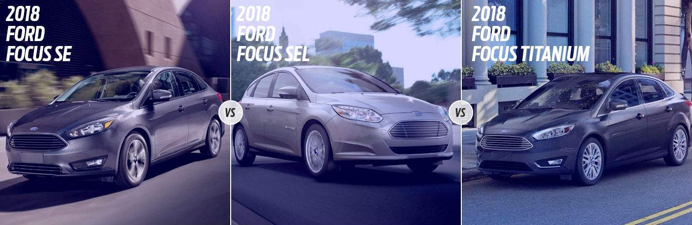 Gray 2018 Ford Focus SE on City Street vs Silver 2018 Ford Focus SEL on City Street vs Black 2018 Ford Focus Titanium Parked on Street
