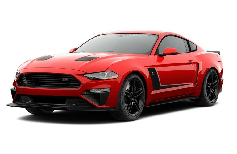 Red 2018 Ford Mustang ROUSH Jackhammer Front Exterior on White Background