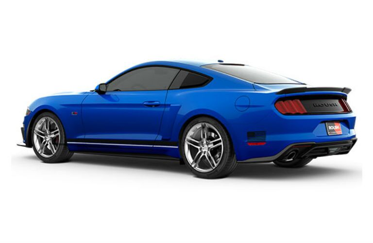 Blue 2018 Ford Mustang ROUSH Stage 1 Rear Exterior on White Background