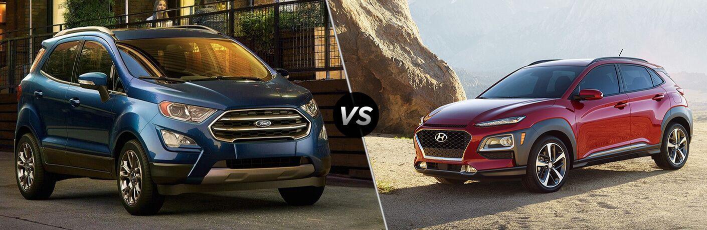 Blue 2019 Ford EcoSport on a City Street vs Red 2019 Hyundai Kona on a Rocky Road