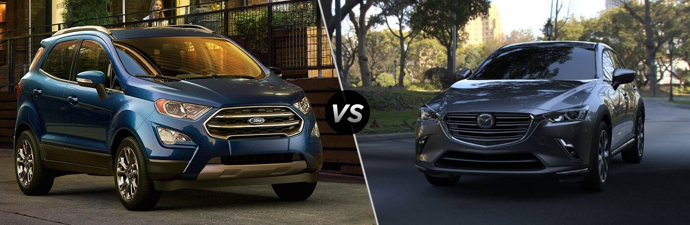 Blue 2019 Ford EcoSport on a City Street vs Gray 2019 Mazda CX-3 in a Park