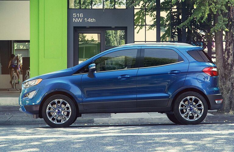 Blue 2019 Ford EcoSport Side Exterior on a City Street