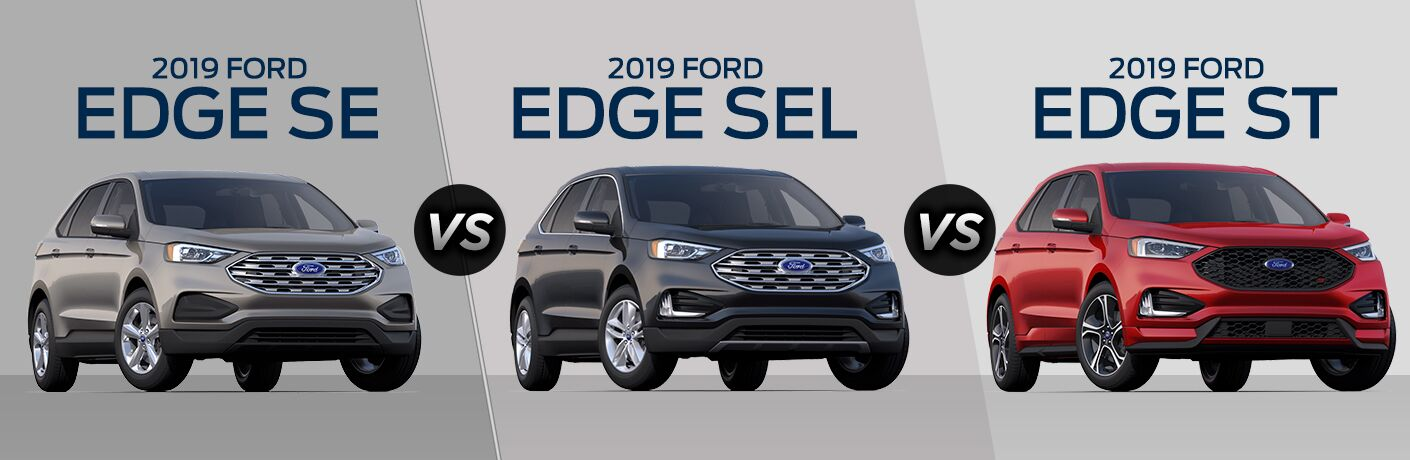 Silver 2019 Ford Edge SE on Gray Background with Blue Name Text vs Gray 2019 Ford Edge SEL on Gray Background with Blue Name Text vs Red 2019 Ford Edge ST on Gray Background with Blue Name Text