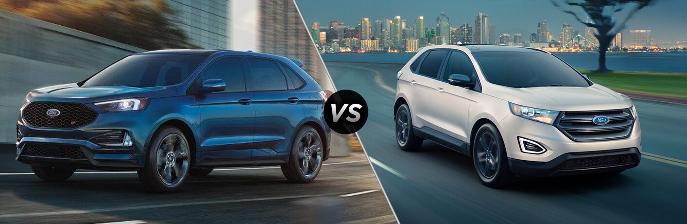 Blue 2019 Ford Edge ST on a Freeway vs White 2018 Ford Edge on a City Street