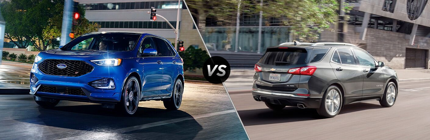 Blue 2019 Ford Edge ST Driving on a City Street at Night vs Gray 2019 Chevy Equinox Rear Exterior on a City Street