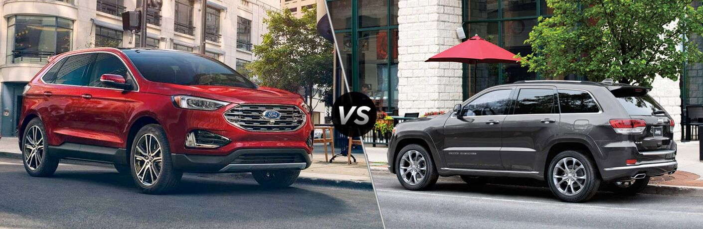 Red 2019 Ford Edge on a City Street vs Gray 2019 Jeep Grand Cherokee Parked on a City Street