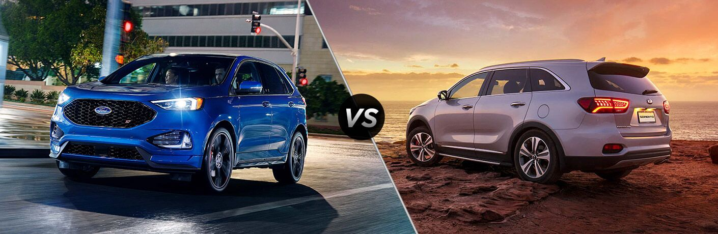 Blue 2019 Ford Edge ST Driving on a City Street at Night vs Silver 2019 Kia Sorento at the Beach at Sunset