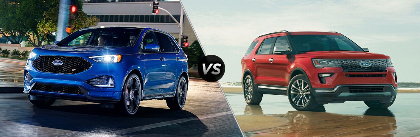 Blue 2019 Ford Edge ST on City Street at Night vs Red 2019 Ford Explorer on a Wet Sand Beach