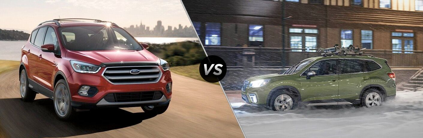 Red 2019 Ford Escape on a Lake Road vs Green 2019 Subaru Forester in the Snow