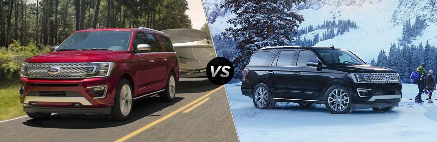 Red 2019 Ford Expedition Towing a Boat vs Black 2018 Ford Expedition in the Snow