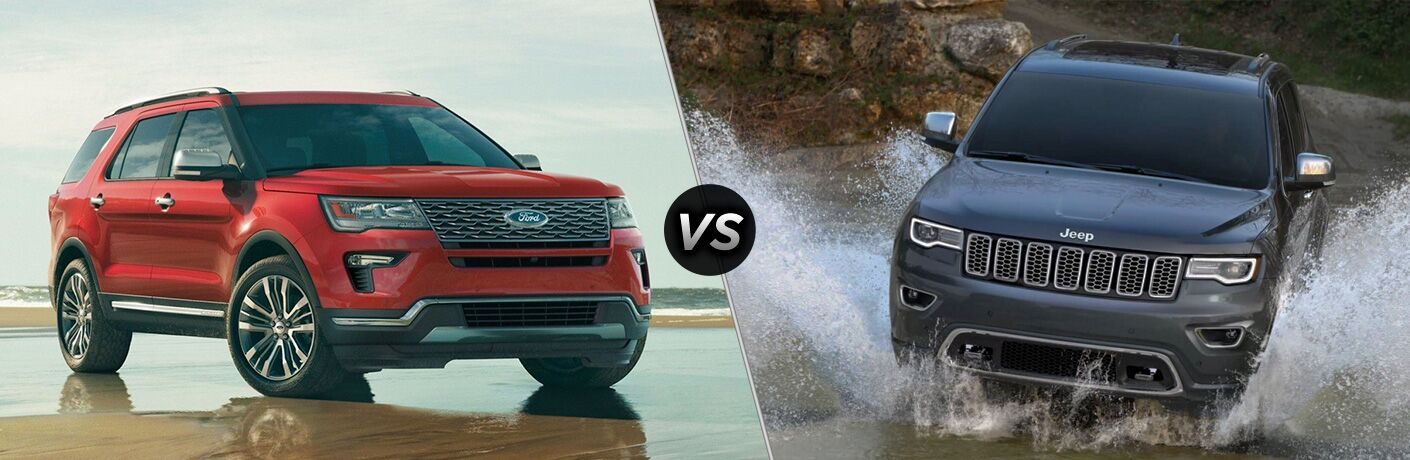 Red 2019 Ford Explorer on a Wet Sand Beach vs Gray 2019 Jeep Grand Cherokee Fording a Stream