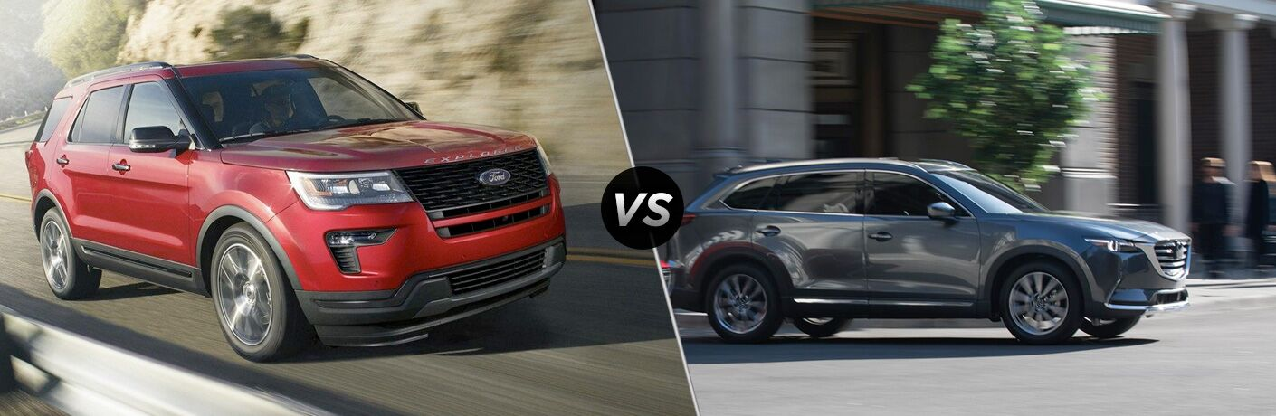 Red 2019 Ford Explorer on a Highway vs Gray 2019 Mazda CX-9 on a City Street