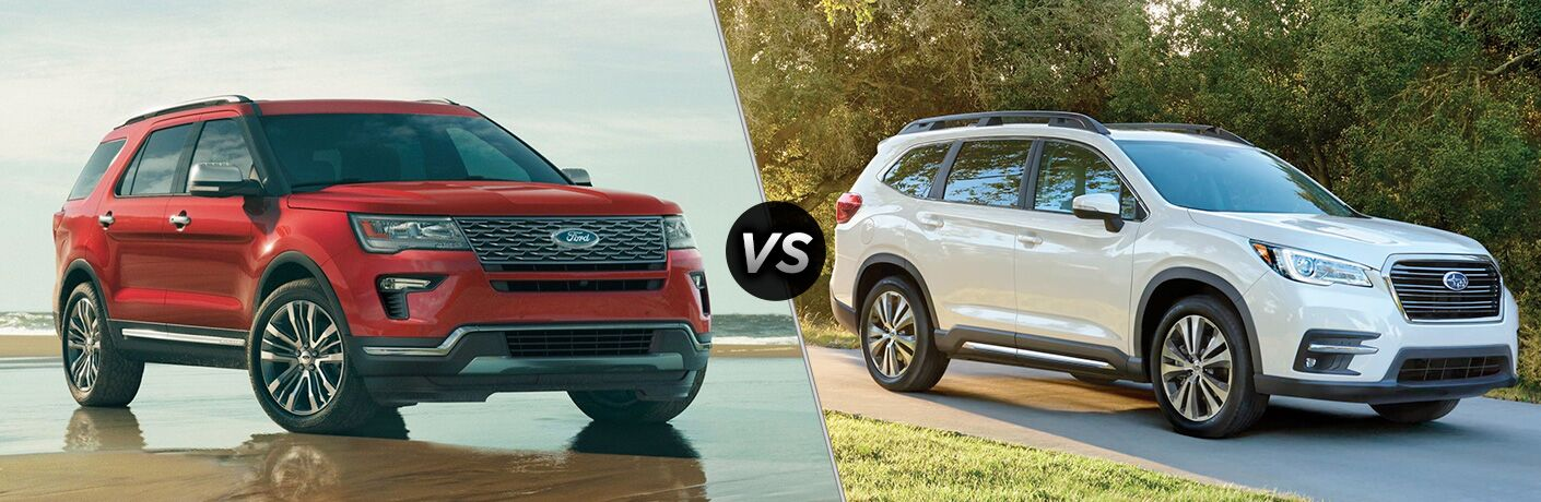Red 2019 Ford Explorer on Wet Sand Beach vs White 2019 Subaru Ascent in a Driveway