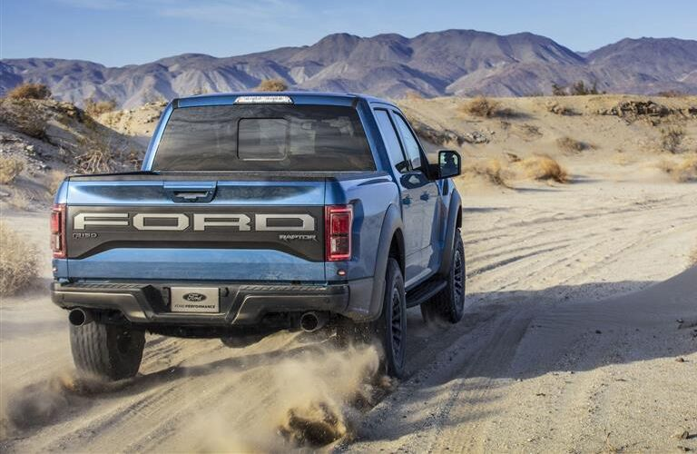Black and Blue 2019 Ford F-150 Rear Exterior on a Desert Trail