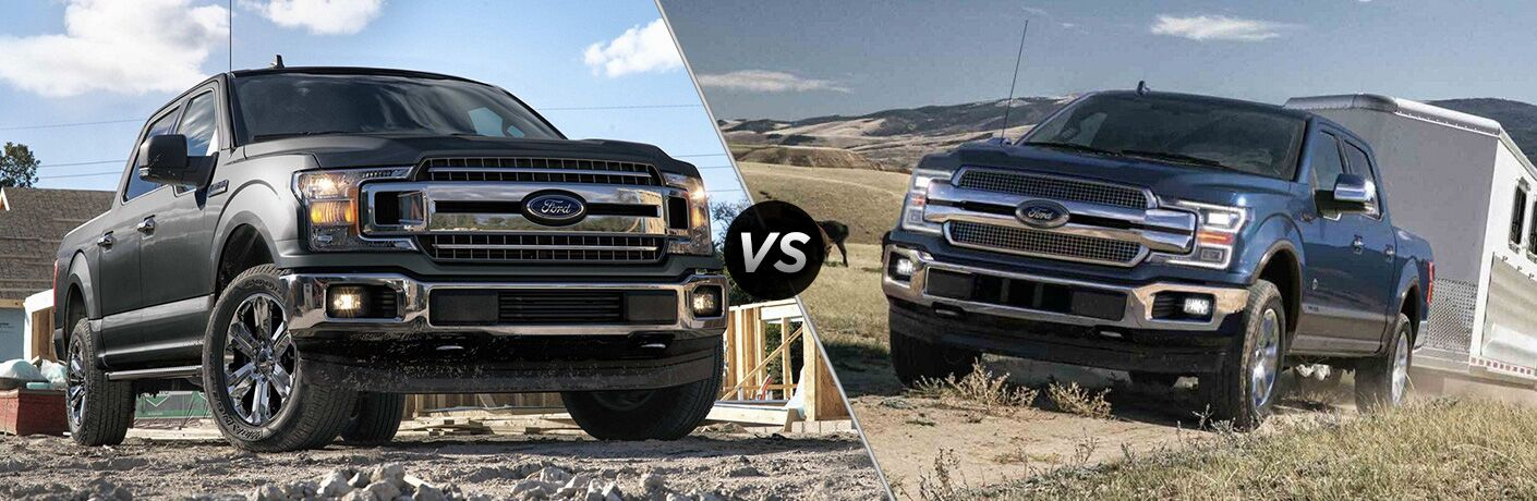 Black 2019 Ford F-150 on a Jobsite vs Blue 2018 Ford F-150 Towing a Trailer in a Field