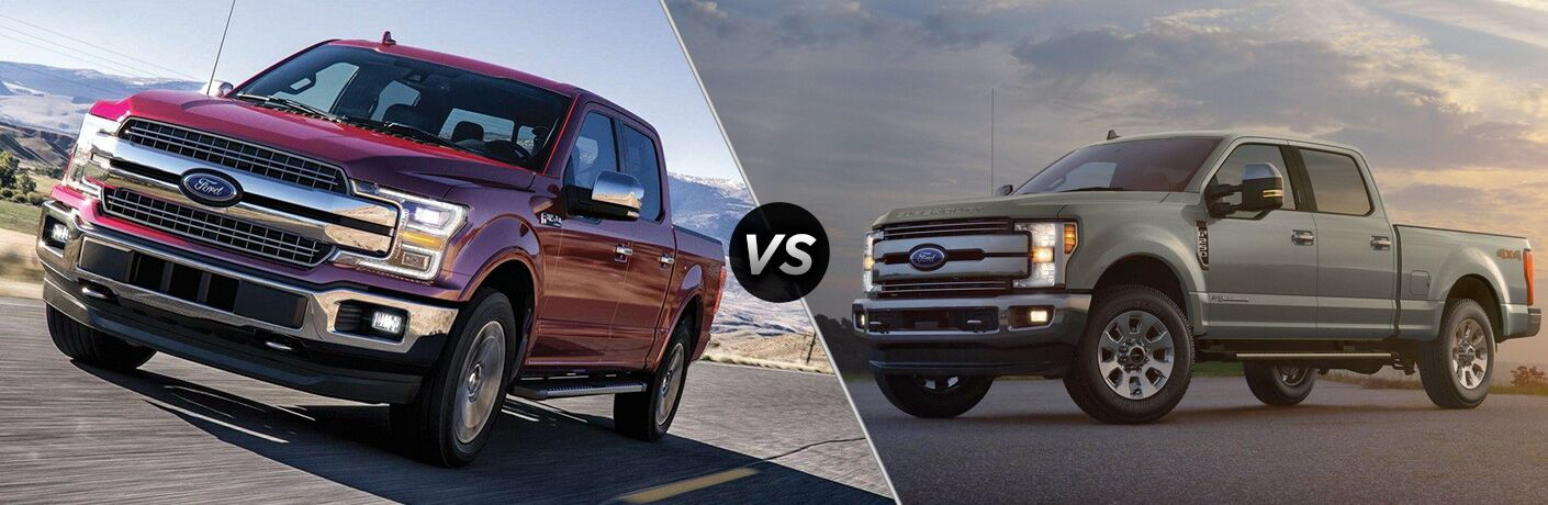 Red 2019 Ford F-150 on a Highway vs Gray 2019 Ford F-250 Super Duty in a Parking Lot