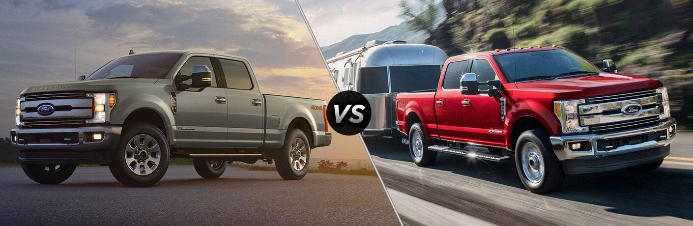 Gray 2019 Ford F-250 Super Duty at Sunset vs Red 2018 Ford F-250 Super Duty Towing a Camper on the Highway