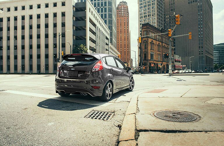 Black 2019 Ford Fiesta Hatchback Rear Exterior on a City Street