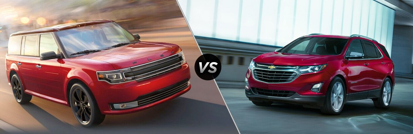 Red 2019 Ford Flex, VS Icon, and Red 2019 Chevy Equinox