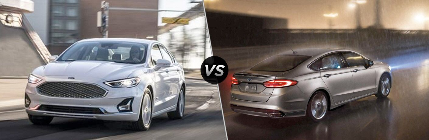 White 2019 Ford Fusion on a City Street vs Gray 2018 Ford Fusion Rear Exterior on a Street at Night